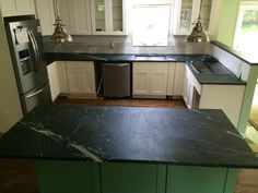 Pacific Soapstone definitely complimenting these green kitchen cabinets www.gardenstatesoapstone.com Soapstone Counters, Countertops, Green Kitchen Cabinets, Home Decor, Vanity Tops, Decoration Home, Room Decor, Interior Design, Home Interiors