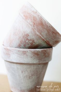 Learn how to create the look of beautifully aged terra cotta pots with this simple paint wash tutorial. Painted Flower Pots, Painted Pots, Flower Pot Crafts, Cactus, Aging Wood, Diy Planters, Planter Ideas, Terracotta Pots, Garden Pots