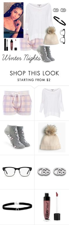 """Winter Nights"" by artisticstyler ❤ liked on Polyvore featuring Honeydew Intimates, Lisa Todd, Forever 21, J.Crew, GlassesUSA, Gucci, BillyTheTree and Wet n Wild"