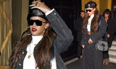 Beret chic! Rihanna flaunts her enviable abs in a crop top and double denim as she ups the style stakes at Paris ... - Daily Mail