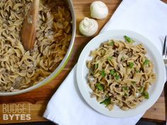Ingredients2 Tbsp butter $0.242 cloves garlic $0.16� lb. ground beef $1.948 oz. fresh button mushrooms $1.992 Tbsp all-purpose flour $0.012 cups beef broth $0.308 oz. wide egg noodles $0.90? cup sour cream $0.67 I love this site http://greekfood-recipes.com/posts/67266-one-pot-beef-mushroom-stroganoff-at-urecipescom