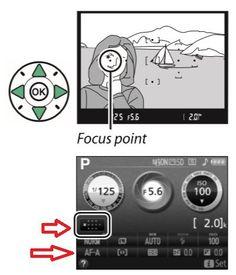 selcting focus point in Nikon D3300 DSLR