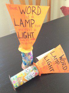 """FLASH LIGHT PAPER ROLL – Psalm 119:105, """"Your word is a lampfor my feet,a lighton my path.""""  This memory maker craft will help your child remember this week's40 Days in the Wordmemory verse by usingitems you have around the house. Look"""