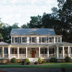 Carolina Island House | Broad, deep, and square porches are the hallmark of this design. Beautifully detailed, this porch stretches 65-feet across the front with three 14-by-14 square foot porches set at each end totaling 1,695 square feet of outdoor living, dining, and entertaining space. | SouthernLiving.com
