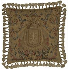Crowned Insignia - 22 x 22 in. Aubusson pillow $353