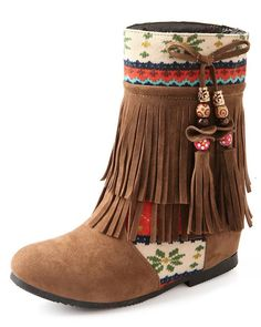 Maybest Womens Ladies Tassel Low Heel Wedge Ankle Boots Winter Warm Shoes with Beaded >> Remarkable product available now. : Desert boots