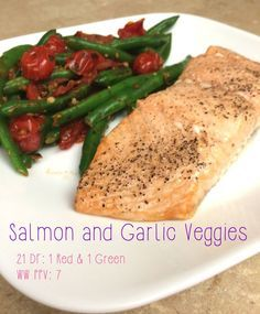 Weight Watchers Points -7 21 Day Fix -1 Red, 1 Green The real star of this dish is the sautéed vegetables, which are quick to make! Makes2 servings Ingredients 2 filets of salmon 4oz green beans...