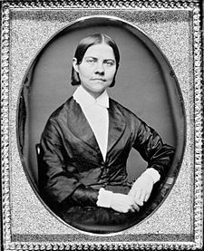 Lucy Stone (August 13, 1818 – October 19, 1893) was a prominent American abolitionist and suffragist, and a vocal advocate and organizer promoting rights for women. In 1847, Stone was the first woman from Massachusetts to earn a college degree. She spoke out for women's rights and against slavery at a time when women were discouraged and prevented from public speaking. Stone was the first recorded American woman to retain her own last name after marriage.