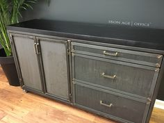 Edwin Credenza - custom configuration  | industrial office furniture |  | modern industrial commercial furniture |  | rustic office furniture |  http://www.ironageoffice.com/