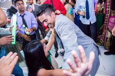 Getting down at the reception.