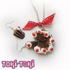 Black Forest Cake Necklace And Earings Set by MadeByTokiToki