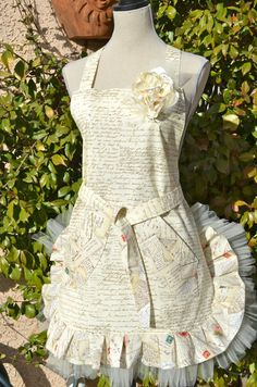 French Postale Document Inspired Apron w/tulle and Rhinestones