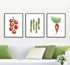 Kitchen art, Vegetable print Set of 3 print, Watercolor painting, Botanical print, Wall decor, Tomato, Asparagus, Carrot, 11x14 print on Etsy, $88.00
