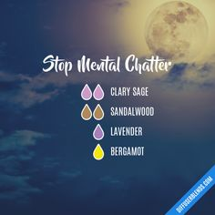Stop Mental Chatter - Essential Oil Diffuser Blend Essential Oils Guide, Essential Oil Scents, Essential Oil Diffuser Blends, Essential Oil Uses, Doterra Essential Oils, Essential Oil Combinations, Diffuser Recipes, Aromatherapy Oils, Lavender