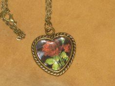 Brass Rose Pendant Necklace by KitsJewleryCreations on Etsy, $12.00