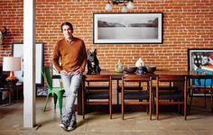 Brent Bolthouse & his pup in his Venice loft