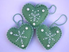 Felt Christmas Heart decorations