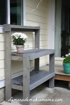 DIY Food Serving Table Plans (for the patio!) I can see this with holes drilled on the top of the back board for my shovels and rakes