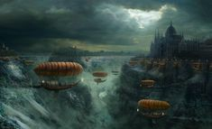 "Airships! ""In an alternate universe, our skies are filled with floating ships that look like they'd be as comfortable in the oceans as in the air. We've collected some truly stunning illustrations of airships from worlds not unlike our own."""