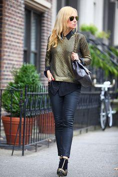 Sweater: Top Shop, Blouse: Equipment, Pants: Zara, Boots: Sergio Rossi, Handbag: Vintage Chanel