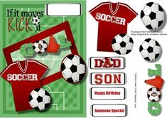 If it Moves Kick it Red  on Craftsuprint designed by Ceredwyn Macrae - A lovely card to make and give to anyone into Soccer a lovely card in red has balls and a shirt and has four greeting tags and a blank one for you to choose the sentiment, - Now available for download!