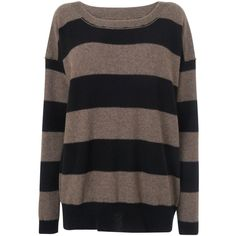 Jaeger Striped Oversized Jumper, Taupe ($130) ❤ liked on Polyvore featuring tops, sweaters, shirts, jumpers, brown sweater, long sleeve shirts, brown long sleeve shirt, oversized long sleeve shirts and brown striped shirt