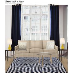 Modern Nautical inspired living room, navy and white chevron rug, with mustard yellow accents