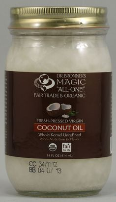 Dr. Bronner's Magic Fresh Pressed Virgin Coconut Oil Whole Kernel Unrefined - hair conditioner, skin lotion, wrinkle cream, deodorant, toothpaste, cooking - I love this stuff for everything!