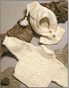 Opskrift på strikket baby-børnesweater med hjelm