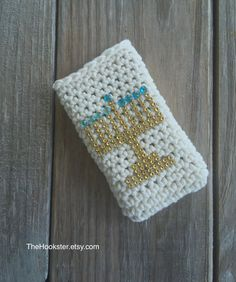 Chanukkah phone case with gold menorah, All sizes, Hanukkah phone cover, Crocheted Chanukah phone cover, Jewish holiday phone case gift idea by TheHookster on Etsy