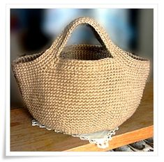 From a Japanese craft book, darn! Love this jute bag...