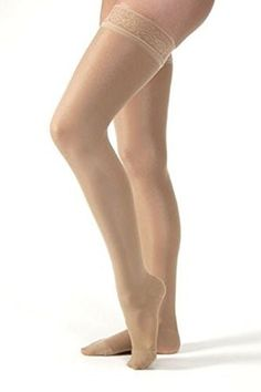06a0aa4c4 Jobst Compression Stockings Ultrasheer Thigh High 15-20 Closed Toe Lace  Honey Xl