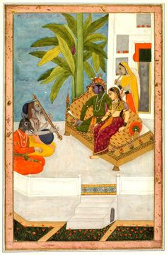 SRI RAGA - The Sri Raga painting is a depiction of Krishna (or Shiva) as he sits with his consort and listens to a bearded musician. This singer is identified as Narada, who is accompanied by a horse-headed musician known as the celestial kinnara (Tumburu). An Illustration from a Ragamala Series, c. 1740  India, Mughal, 18th century