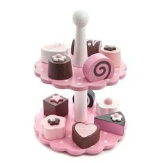 Children's Chocolate Cake Stand Toy with 12 Wooden Cakes   Sass & Belle at Edora