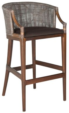 Safavieh Furniture SEA4014A - Inspired by the exotic tales of Hemmingway, the Brando rattan barstool with brown seat cushion is a nod to the art and adventure of imbibing. Rugged mahoga