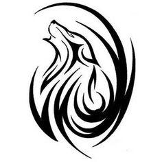 Attractive Tribal Wolf Howling Head Tattoo Stencil