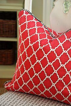 "Decorative Pillow Covers - Ferran ""Lattice"" in Geranium, Piped in Alan Campbell China Seas' ""Zig Zag"" by Modern Coastal Interiors"