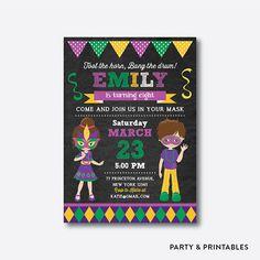 mardi gras birthday invitation mardi gras invitation mardi gras party invitation masquerade invitation mask party chalkboard ckb111