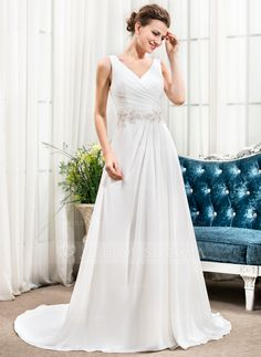 A-Line/Princess V-neck Court Train Chiffon Wedding Dress With Ruffle Beading Sequins (002056423) - JJsHouse