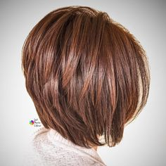 Glossy Reddish Brown Bob with V-Cut Layers
