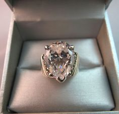 Sterling Silver Ring Huge CZ Stone Size 8.5 Tear Drop 9.43 Grams Marcasites NICE #Unbranded #Cocktail
