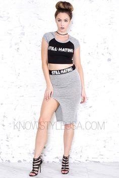 Still Hating Crop Top & Skirt Set