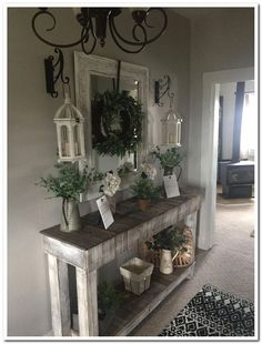 Beautiful Entry Table Decor Ideas to give some inspiration on updating your house or adding fresh and new furniture and decoration. table decor farmhouse Best Entryway Table Ideas to Greet Guests in Style Diy Entryway Table, Farmhouse Entryway Table, Entry Tables, Farmhouse Decor, Modern Farmhouse, Country Farmhouse, Living Room Designs, Living Room Decor, Bedroom Decor
