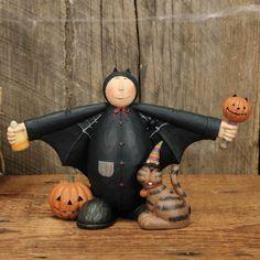 Boy in Bat Costume Figurine - Halloween Folk Art & Collectibles by Williraye Studio