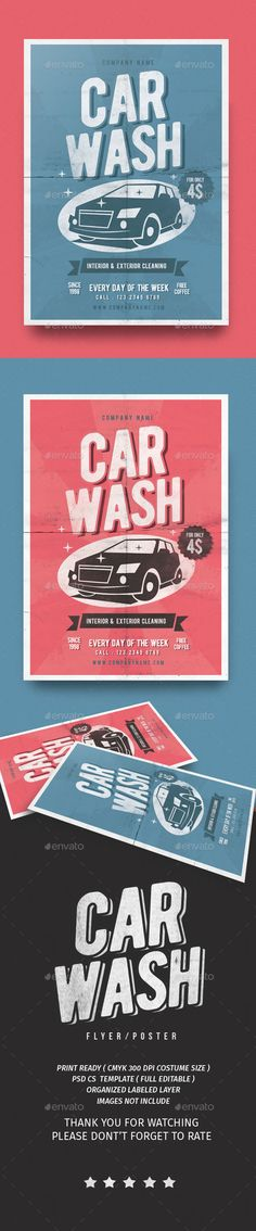 Vintage Car Wash Flyer  - PSD Template • Only available here ➝ http://graphicriver.net/item/vintage-car-wash-flyer/16835170?ref=pxcr