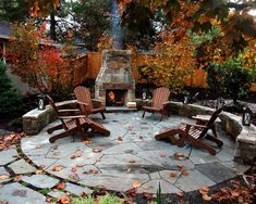 Amazing outdoor fireplace & patio