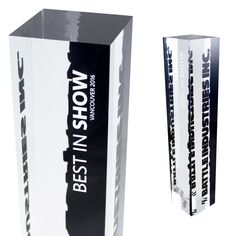 These are our modern acrylic trophies / awards. Available in clear (pictured) and black, we can print in full colour CMYK, white and clear gloss.