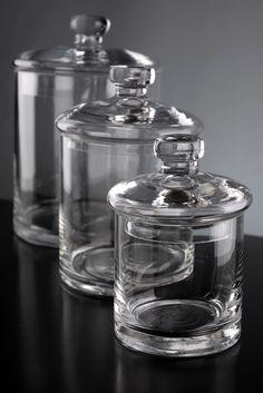 Set of 3 Clear Glass Apothecary Canister Jars for bath salts lush bombs & a tiny terrarium Glass Canisters, Kitchen Canisters, Glass Jars, Clear Glass, Mason Jars, Pots, Terrarium, Cheap Bathrooms, Save On Crafts