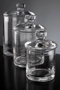 Set of 3 Clear Glass Apothecary Canister Jars  -- for bath salts, lush bombs & a tiny terrarium