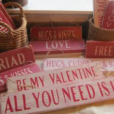 Personalized Valentines Day Signs...???  For window in North room?  Linked together with chain?  Hmmm...
